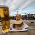 bbq burger with a pint